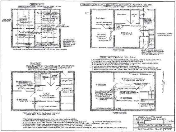 Elevation Floor Plan. Picture from The Historical, Architectural Analysis, And Restoration Plan for the Hans Hanson House, 15 Dec 2009 Prepared by Alan Pape for The Door County Historical Society.